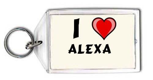 Preisvergleich Produktbild Schlüsselhalter mit Aufschrift Ich liebe Alexa