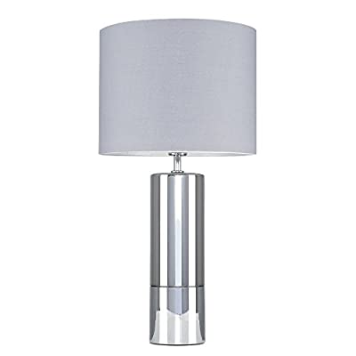 Modern Silver Chrome and Smoked Glass Table Lamp with a Cylinder Light Shade from MiniSun