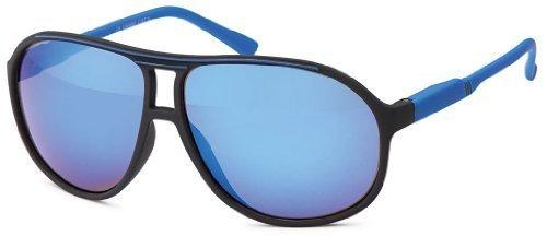 Sense42 Retro Sonnenbrille Two Tone Schwarz Blau verspiegelt, flexiblen Federscharnier Bügeln, Nerdbrille Damen Herren Unisex mit Brillenbeutel (Wayfarer Tone Sonnenbrille Two)