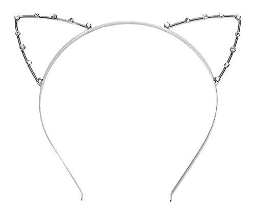 llperlen Shot In Katze Ohren Kind Erwachsene Haarbänder, Silber ()