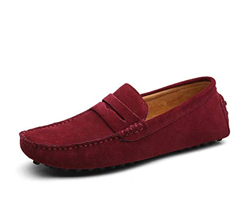 Large Size 50 Men Loafers Soft Moccasins Spring Autumn Genuine Leather Shoes Men Warm Flats Driving Shoes 01 Wine 11 -