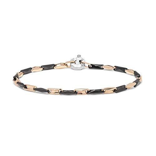 Baraka\' Herren Armband aus Roségold und Keramik mit Diamant - Made in Italy - Größe 20