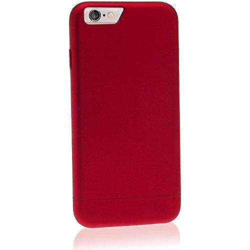 igadgitz Schwarz Hartplastik Glider Etui Tasche Schutzhülle für Apple iPhone 6 PLUS & 6S PLUS 5.5 Zoll Schale Case Cover + Displayschutzfolie Rot