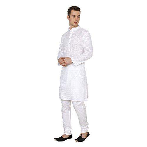 Royal-Mens-Lucknowi-White-Chikan-Embroidery-Kurta-Churidar