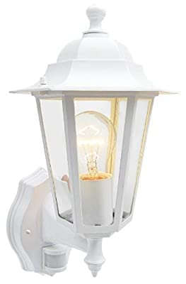 Choose Black or White Outdoor PIR Security Sensor Traditional Lantern Shape Flood Light. Self contained & waterproof unit. Movement Detecing Floodlamp FloodLight Detector Wall Lamp, NowIncluded Free: 42w Energy Saving Halogen Light bulb. - low-cost UK lig