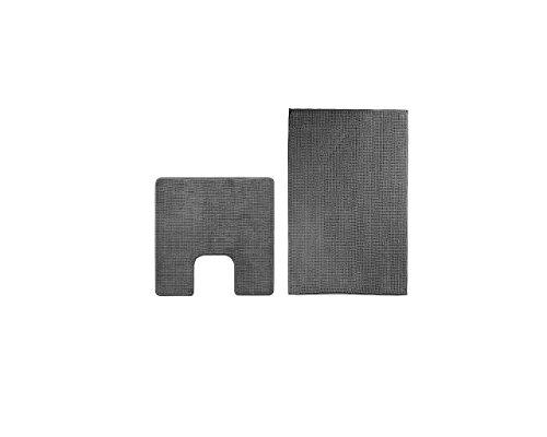 IKEA-Badteppich-Set 'TOFTBO' Badvorleger-Matte 60x90cm PLUS WC-Vorleger 55x60cm - Mikrofaser - GRAU...