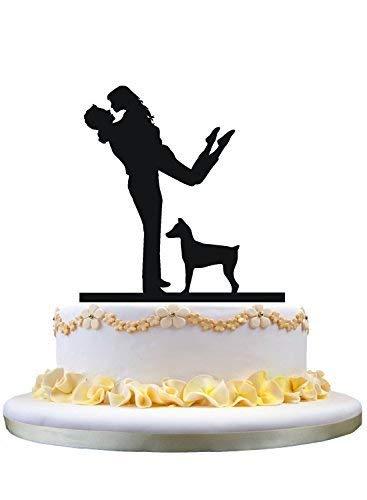 Decoración para tarta de boda de Cheyan, decoración tradicional para tarta de novio con una figura de perro