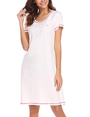 Damen Klassisches Nachtkleid Kurzer Ärmel A-Line Mit Saum schlitz Baumwolle Nachthemd, Weiß, Gr. XL(EU46-48) (Nachthemd Baumwolle-xl Aus)