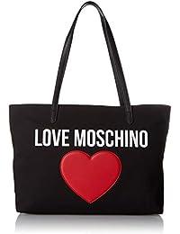 699c179783012 Moschino BORSA DONNA SHOPPING LOVE TESSUTO CANVAS NERO PEEBLE CUORE ROSSO  BS19MO81