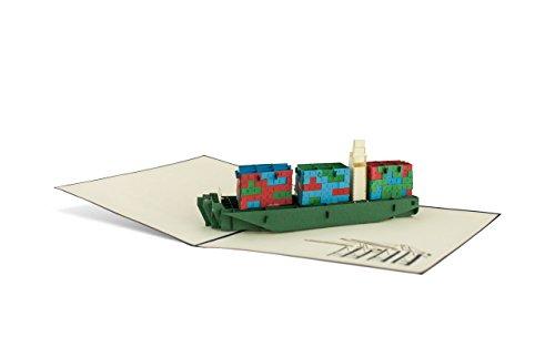 Diese-Klappkarten 3D Maritimes Originelle Containerschiff 3D Pop-Up Karte | Schiff | Reise | Grußkarte | Gutscheinkarte mit Umschlag B10
