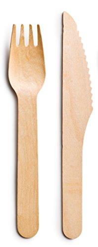 100 x stabile Holzmesser und Holzgabeln | Einwegbesteck Set aus FSC-zertifiziertem Holz | umweltfreundlich & kompostierbar | Holz-Besteck als nachhaltiges Party-Geschirr | Bio Einweg-Geschirr