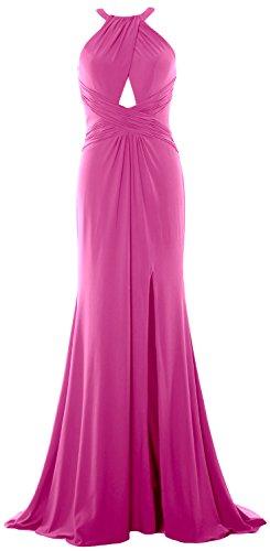 MACloth Women Mermaid Halter Evening Formal Dress Sexy Jersey Prom Ball Gown Fuchsia