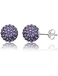 925 Plata Esterlina Shamballa Blanco Aretes Bola de Cristal Brillo 4 5 6 8mm Relojes y joyas