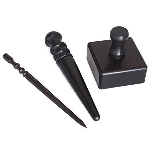 3 Sätze Schwarz Holz Lederhandwerk Rand Burnisher, Leder Schleifwerkzeuge Leder Slicker Werkzeugset Leder poliert Stangen
