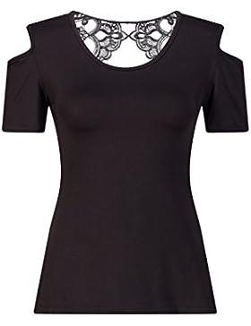 Beauty7 Camisetas Mujer Varano Apretado Espalda Hueco Off Hombro Cuello Redondo Mangas Corta Tops T Shirt Parte...