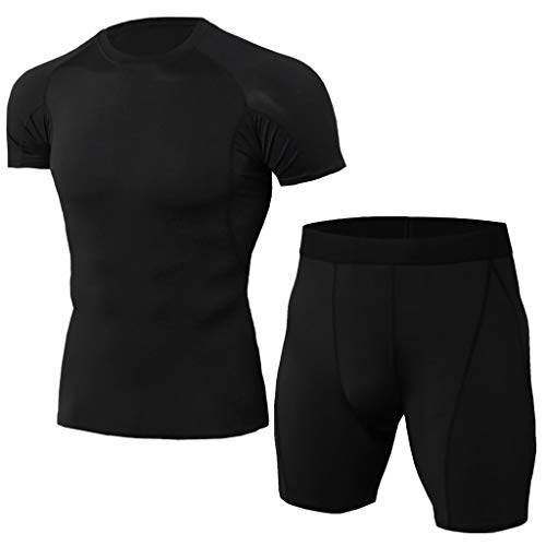 Setsail Herren Elastic Fitness T-Shirt Schnell trocknend Tops Kurze Hosen Sport Enger Modischer Sets -