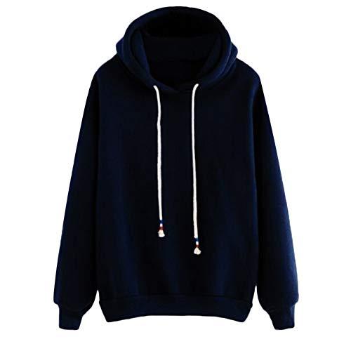 SEWORLD Damen Wärmste Beiläufig Herbst Tägliche Winter Langarm Pullover Freizeit Solide Lässige Einfarbig Sweatshirt(X1-blau,EU-40/CN-XL)