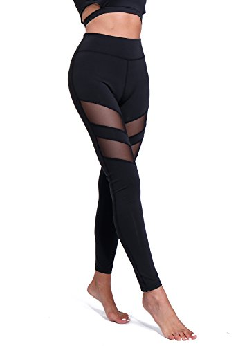 FITTOO Pantalon Yoga Legging de Sport Femme Fitness Collant avec Tulle