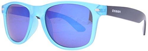 OCEAN SUNGLASSES - Beach wayfarer - lunettes de soleil polarisÃBlackrolles  - Monture : Bleu GlacÃBlackroll/Marron Mat - Verres : Revo Bleu (18202.34)