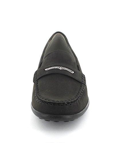 Waldläufer Kläre 640015-014 - Bequemschuhe / lose einlage Damenschuhe Bequeme Ballerina / Slipper, Braun, nubuk-soft ( leder ), absatzhöhe: 20 mm Schwarz