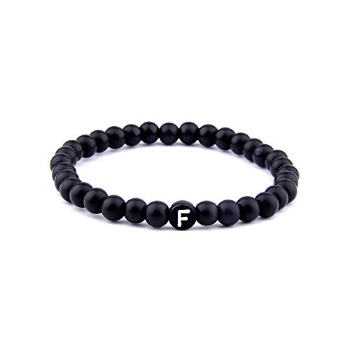us Glasperlen, Matte Natural Stone DIY 26 Bead Letters Bracelets for Women Men Fashion Jewelry Name Friendship Lucky Bracelet Kids F 17cm ()