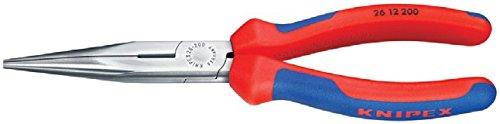 KNIPEX 26 16 200 Flachrundzange mit Schneide (Storchschnabelzange) verchromt isoliert mit Mehrkomponenten-Hüllen, VDE-geprüft 200 mm