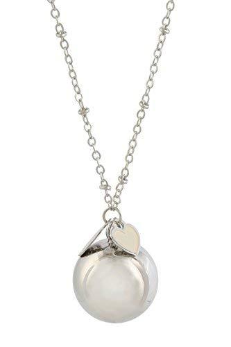 Engelsrufer Klingel Mexikanische Bola rhodiniert argentoè mit Halskette cm.100Herz weiß