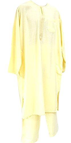 2piezas árabe camiseta vestido Islam Thobe pantalones de del norte de África Libia afgano largo beige crema M