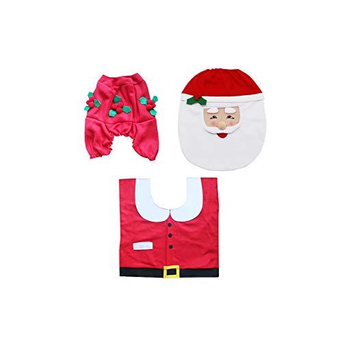 Rrunzfon Weihnachten Toiletten-Abdeckung Anzug Santa Claus Sitzabdeckung Bodenteppich und Tankabdeckung für Badezimmer Weihnachtsdekoration 3pcs / Set (Claus Santa Zu Kaufen Anzüge)