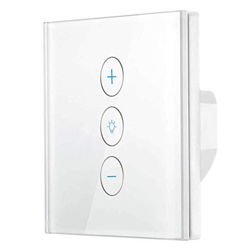 Wlan Dimmer Schalter Kompatibel Mit Alexa/Google Home, Waligh Smart Berühren Lichtschalter mit Timerfunktion, APP Fernbedienung, AC 110-240 V Für LED INC CFL - Neutralleitung Erforderlich