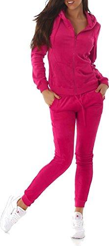 Voyelles Damen Wellnessanzug Hausanzug Jogginganzug Wohlfühlanzug Freizeitanzug Zweiteiler Kapuze Jogger Langarm Pink-L