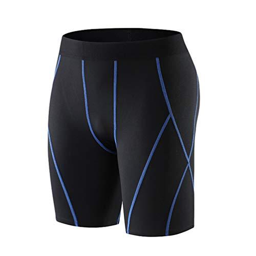 Lvguang Pantaloni Corti Sportivi da Allenamento Elasticizzati a Rapida Asciugatura da Uomo (Blu, Asia XL)