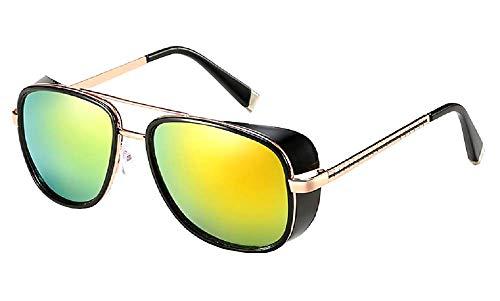 Inception Pro Infinite (M1 Golden Frame Red Lens Sonnenbrille - Iron Man - Steampunk - Tony Stark - Retro - Herren - Unisex -