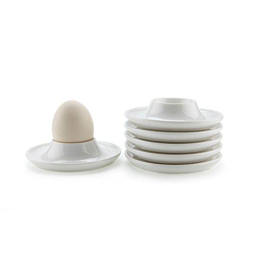 ComSaf Porcelaine Oeuf Plaques de Tasses avec Base Blanc, Paquet de 6