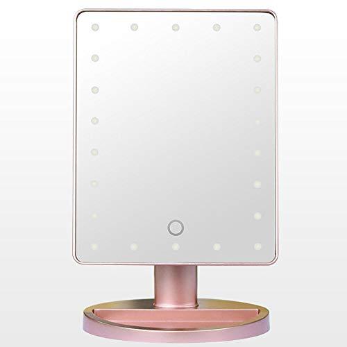 Lxc Intelligente LED-Tischleuchte Kosmetikspiegel Desktop Touch Sensing Illumination HD mit 10x Saugnapf-Lupe Kleiner runder Spiegel Erstellen Sie Ihren eigenen privaten Raum (Farbe : Pink) (Led-desktop-lupe)