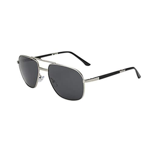 Herren Damen Sonnenbrille Polarisierte Falten Gläser Ultra Leicht Verspiegelt PPangUDing Fahren Retro Metall Rahmen Design Classic Original Ultraleicht Outdoor Sport (Eine Größe, Silber)