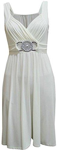 Chocolate Pickle ® nouvelles femmes plus la taille boucle cravate ceinture arrière genou de robe de soirée Crème