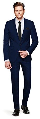 CRIXUS Herren Anzug Fine Satin - 3 teilig - Dunkel Blau Marineblau Smoking Hochzeit Feier Business CS_7 (114) (Passform Individuelle Drei-knopf-anzug)