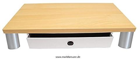 Monitorständer mit Schublade Stone, Standfüße Kunststoff Matt lackiert - Bildschirmständer Monitorerhöhung Schreibtischregal Podest. Holzart: (Kirsche Hell)