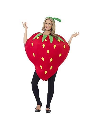 Kostüm Erdbeer - Smiffys, Unisex Erbeeren Kostüm, Überwurf und Kopfbedeckung, One Size, 43406