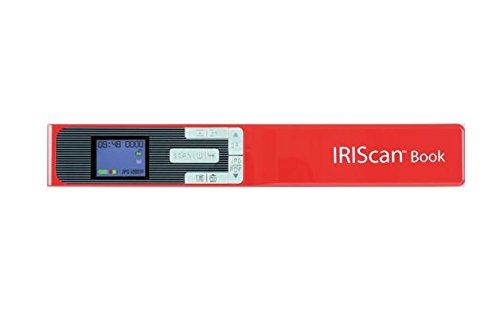 IRIS IRIScan Book 5 Buchscanner (Win/Mac. Kabellos Integrierte wiederaufladbare Lithiumbatterie. 300/ 600/1200 dpi) rot