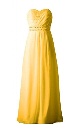 Sunvary elegante, senza spalline abito A-line Sweetheart vestito da damigella d'onore per feste Yellow