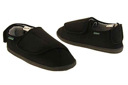 Foderato Uomini Velcro Nero Pantofole Pelliccia Dunlop xUHYF