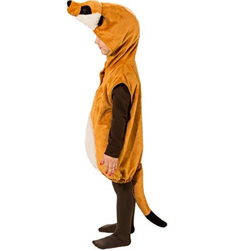 Und Kostüm Timon Pumbaa - Amakando Niedlich Kinder-Weste Erdmännchen mit Mütze / Braun in Größe 104, 3 - 4 Jahre / Hübsches Tier-Outfit für Jungen & Mädchen / Perfekt geeignet zu Kinder-Fasching & Fasnet