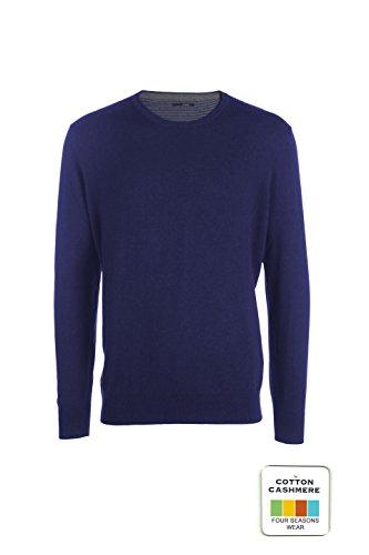 My basic andrew - maglia da uomo in cotone-cashmere - girocollo con lunetta interna bi-colore (48 s it uomo, blu elettrico melange scuro)