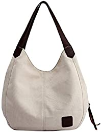 feeafdff54 Javpoo Women Fashion Single Shoulder Bags Casual Vintage Hobo Canvas  Handbags Multi-pocket Top Handle Travel…