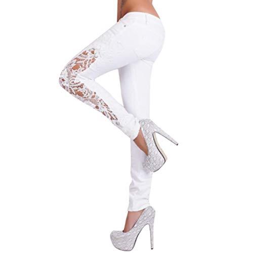 hlen Lange Hosen Frauen Casual Blumenspitze Niedrige Taille Jeans ()