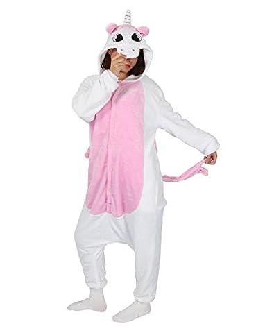 Tier Pyjama Einhorn Kostüm Karton Tierkostüme Jumpsuit Erwachsene Schlafanzug Unisex Cosplay (Rosa Einhorn-kostüm)