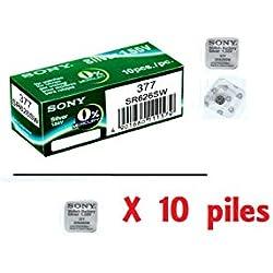 1 boite de 10 X Sony 377 SR626SW Piles Montre Oxyde d'Argent 0% Mercure