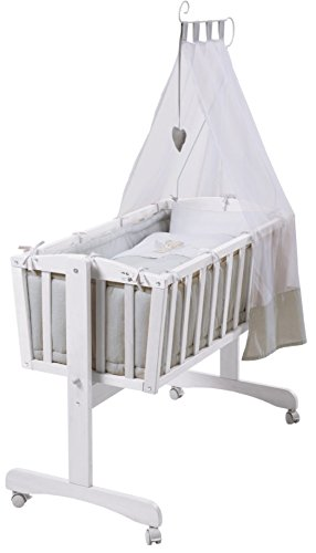 roba Komplettwiegenset, Babywiege (40x90cm), Holz, weiß, Stubenwagen & Wiege mit Feststellfunktion, Wiegenset inkl, kompletter Ausstattung & Baby Bettwäsche (80x80cm)